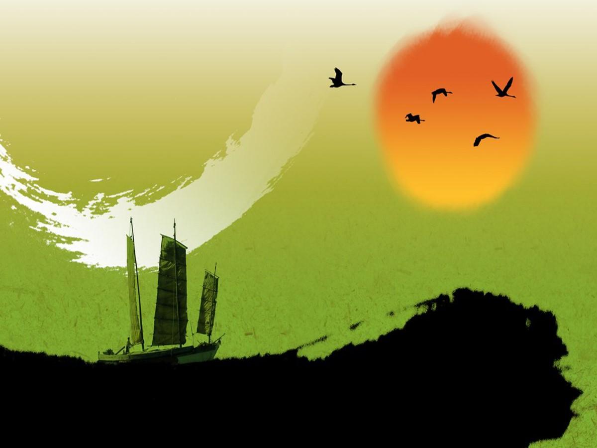 一组彩色中国风幻灯片背景图片