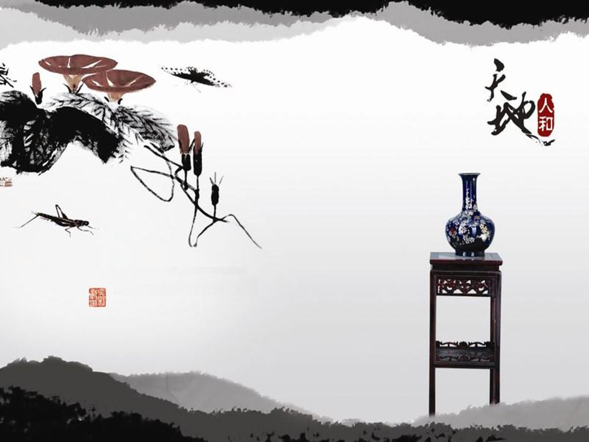 一组中国水墨画背景的古典中国风PPT背景图片