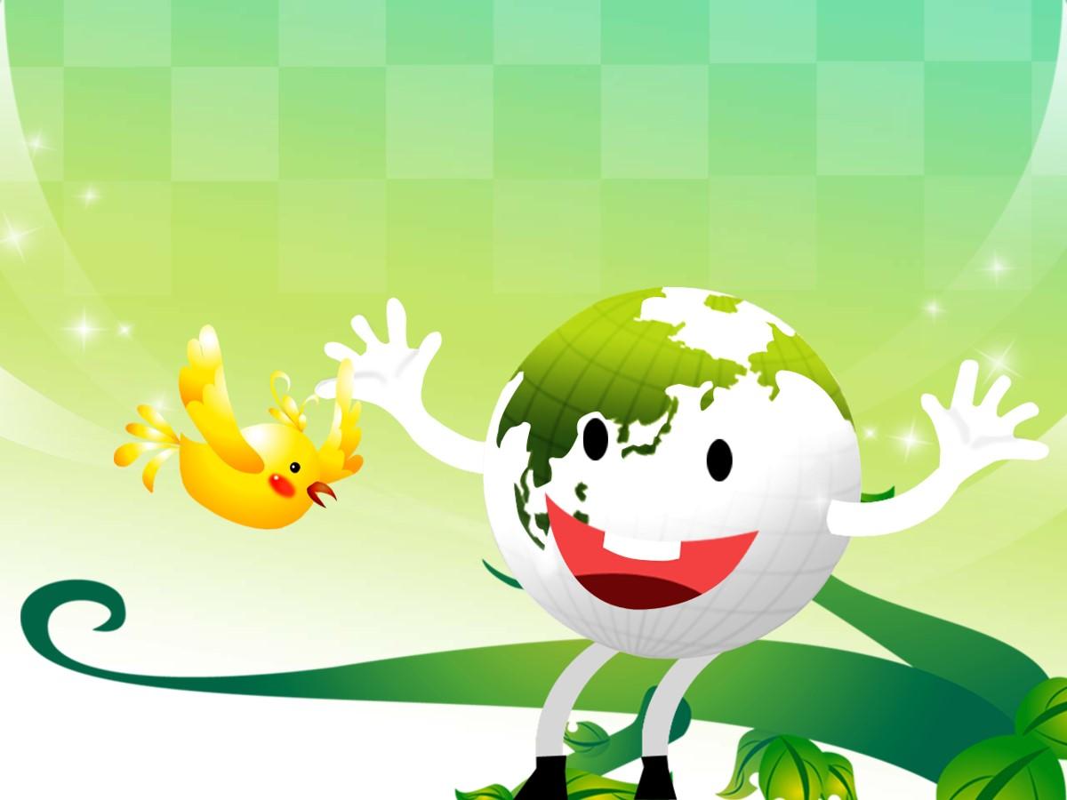 绿色地球卡通幻灯片模板