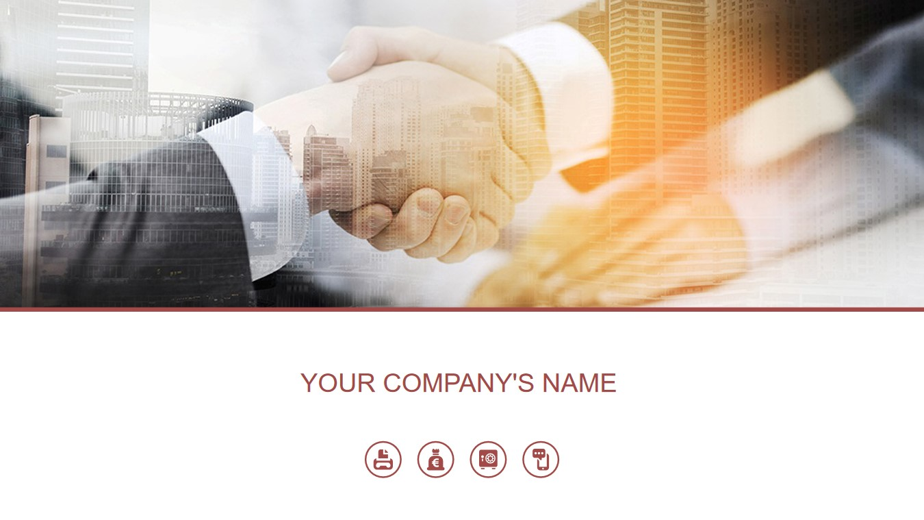 商务握手背景的商业融资计划书PPT模板