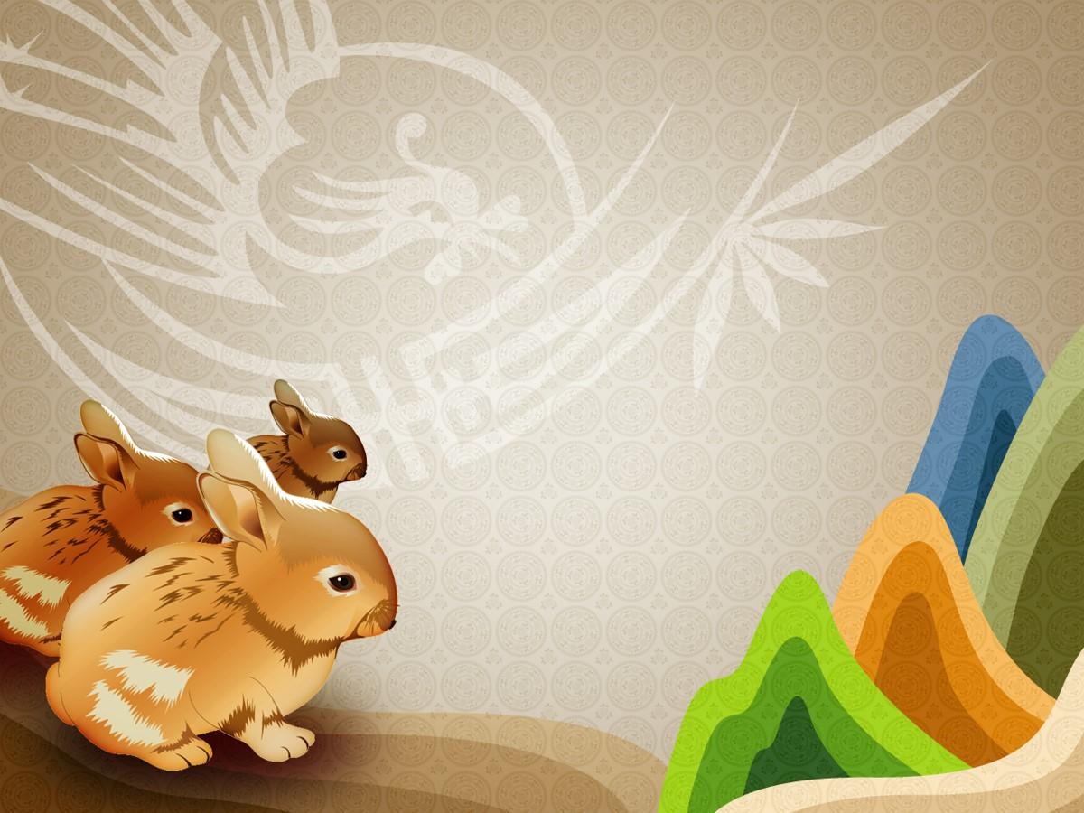 可爱的卡通小兔子背景幻灯片模板