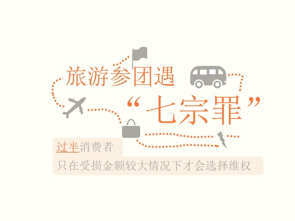 """旅游参团遇""""七宗罪""""――消费者维权PPT模板"""