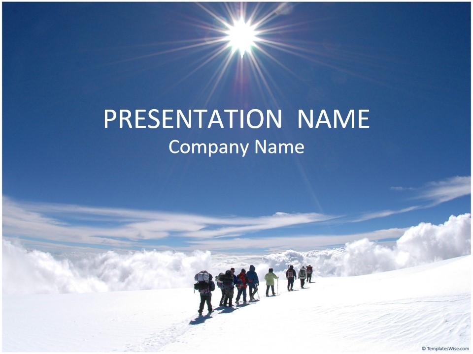 登山队登雪山团队合作商务PPT模板
