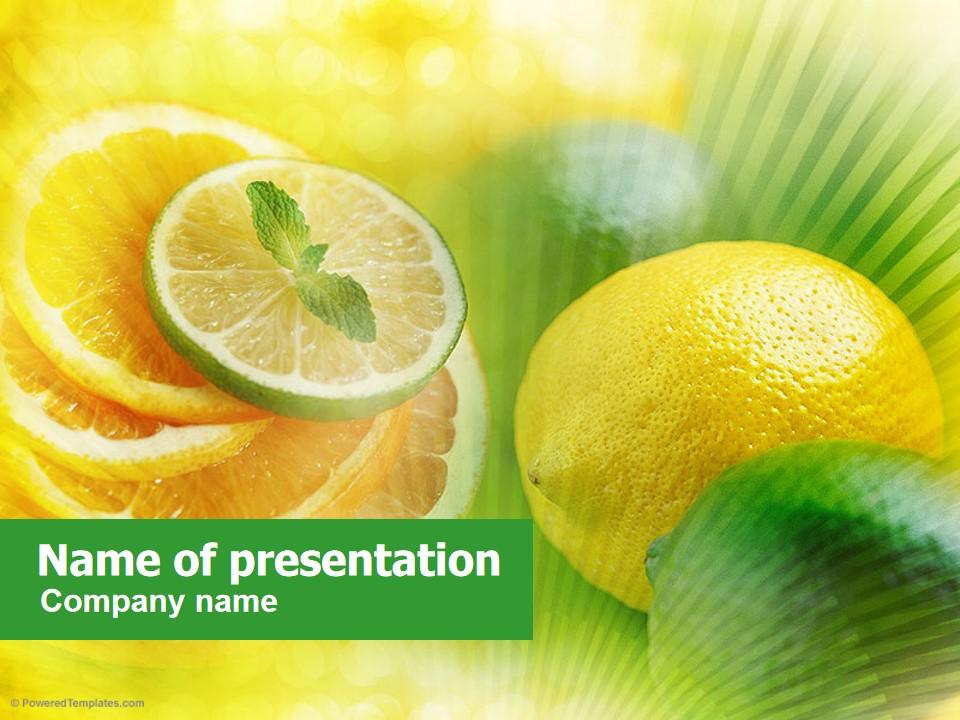 柠檬片 薄荷餐饮PPT模板