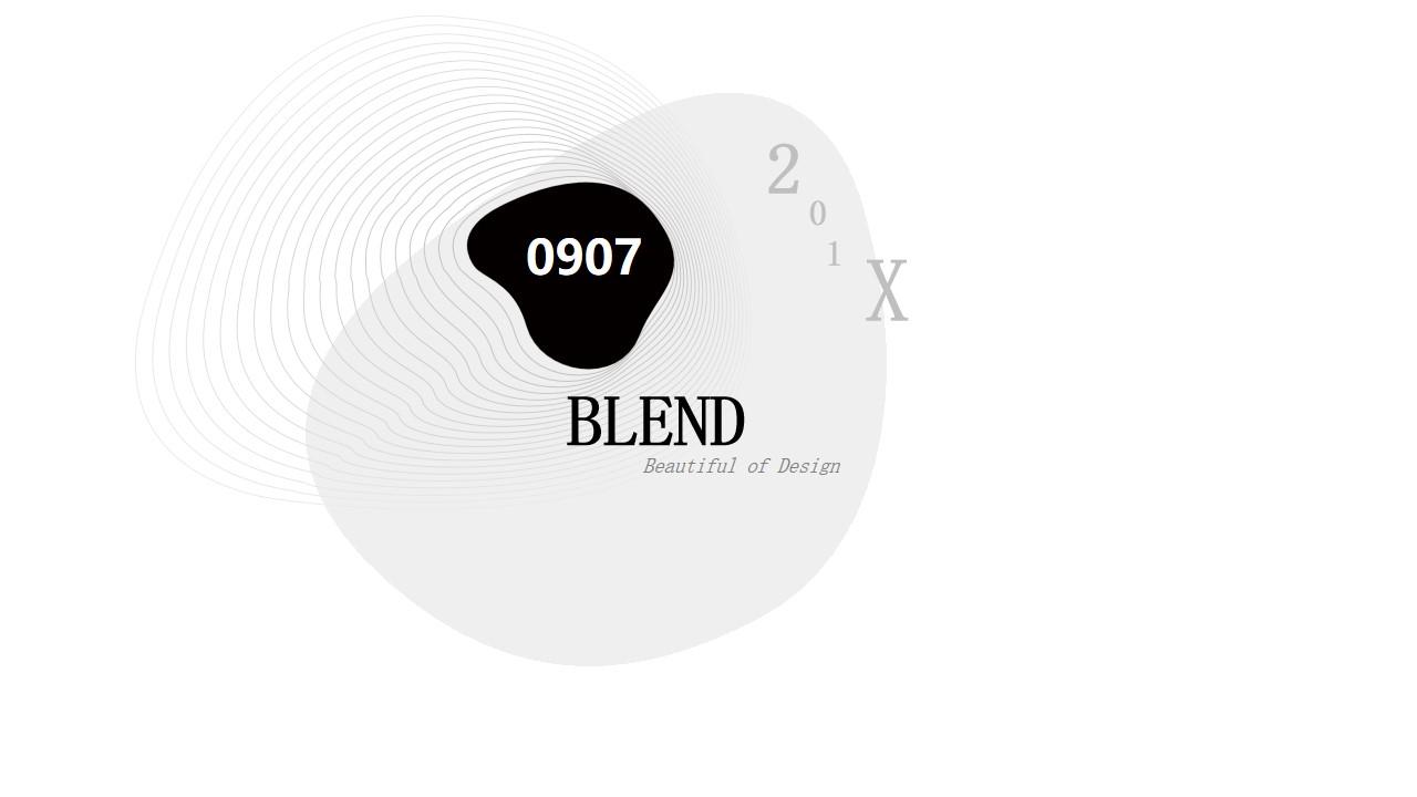 黑白简洁创意曲线背景艺术设计PPT模板