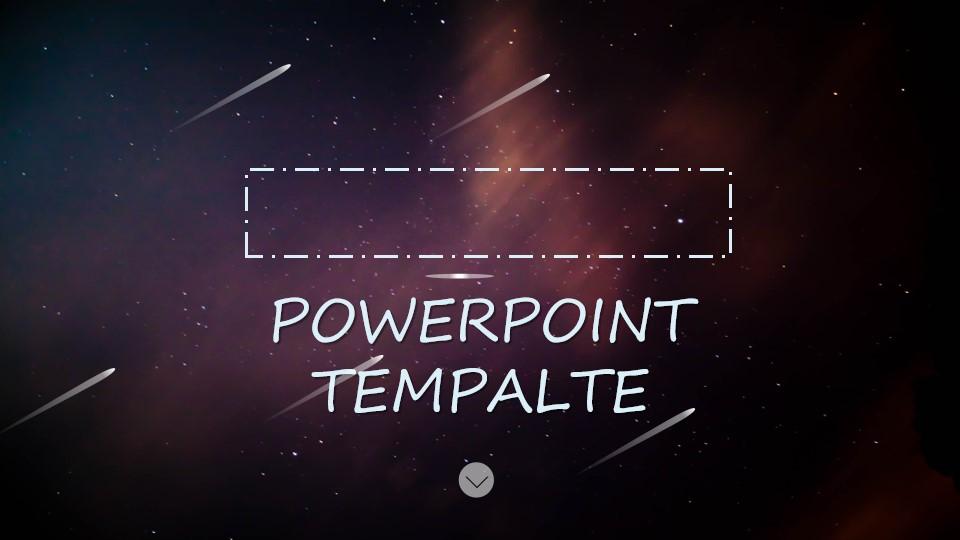 紫色星空流星背景的通用商务PPT模板