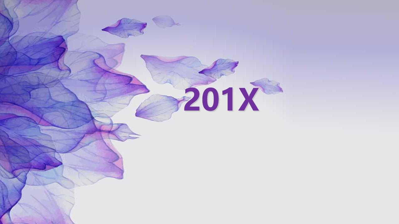 紫色水彩花瓣背景工作总结PPT模板