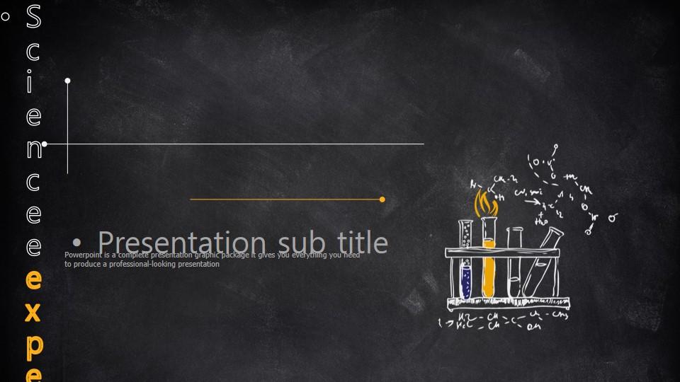 黄色黑板粉笔手绘科学化学实验PPT课件模板