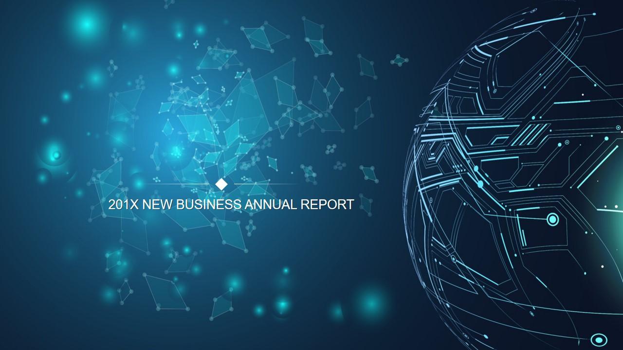 科技行业大数据互联网PPT模板 蓝色点线星球PPT背景