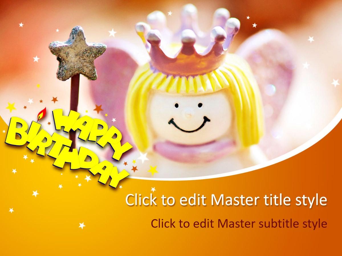 魔法小公主背景的生日幻灯片模板