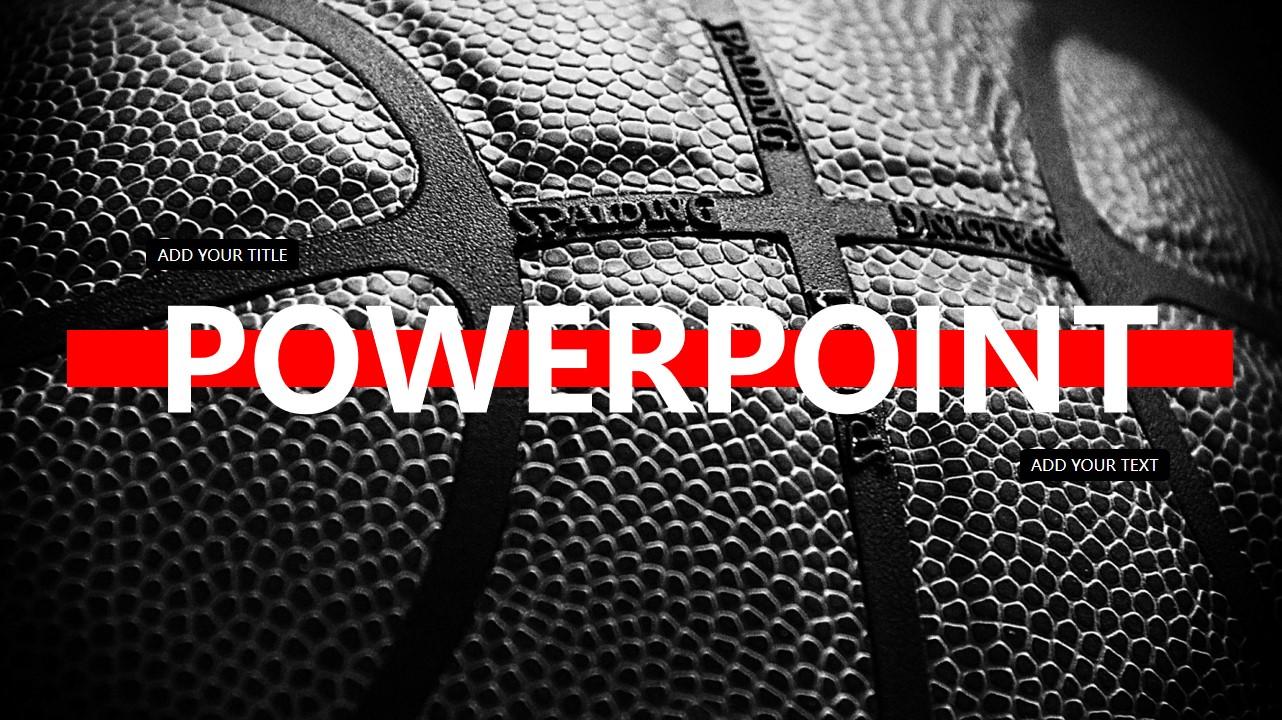 黑红配色篮球背景PPT NBA主题PPT模板