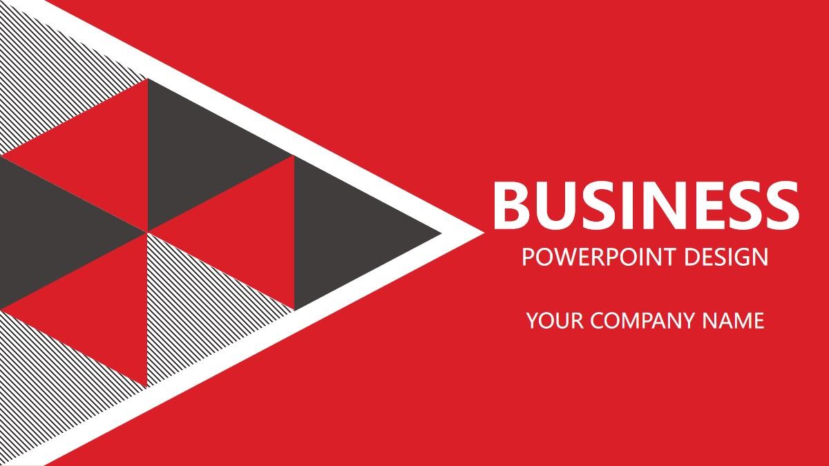 红色欧美三角形排版设计PPT模板 英文商务扁平化PPT图表