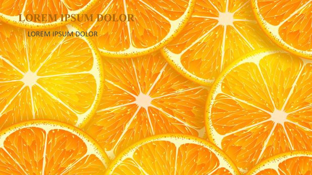 水果主题PPT模板 橙子切片背景PPT