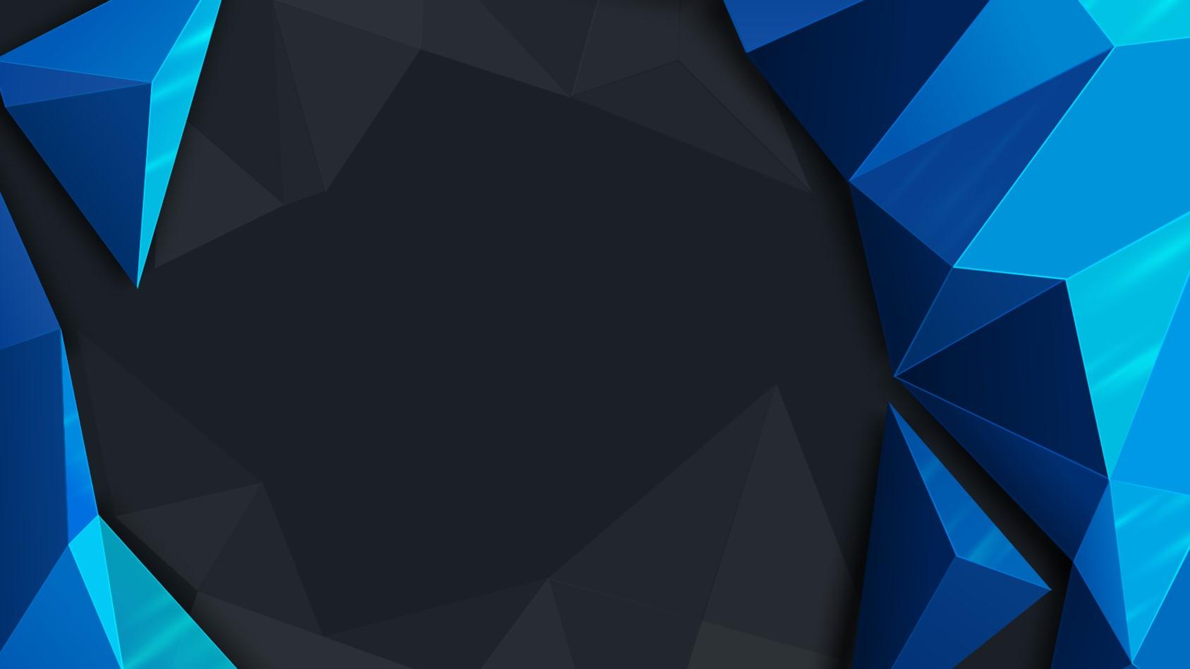 蓝色立体多边形背景工作总结PPT模板