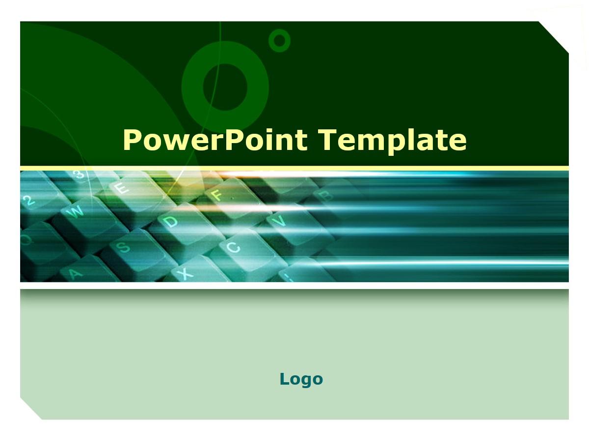 绿色键盘背景PPT模板 科技风PPT幻灯片模板