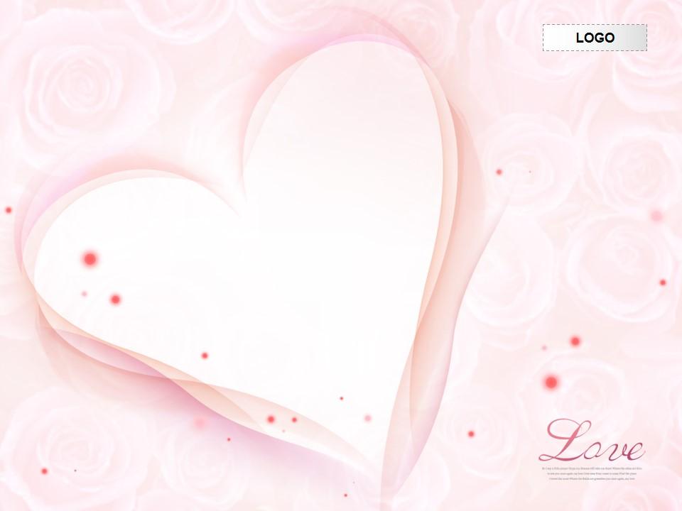 爱心玫瑰花粉红背景PPT模板