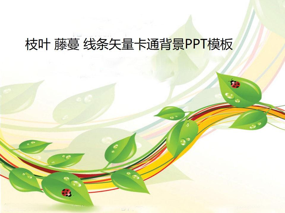 枝叶 藤蔓 线条矢量卡通背景PPT模板
