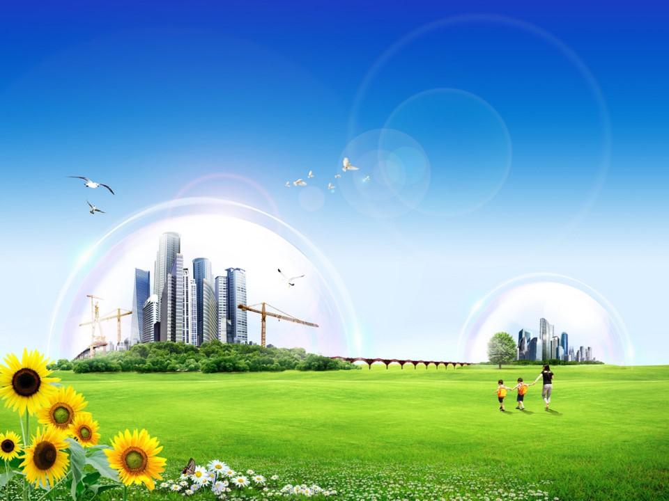 自由呼吸 绿色家园――环保主题PPT背景图片