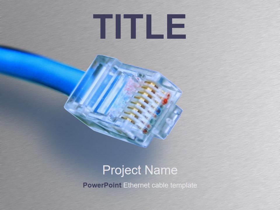 水晶头电脑科技PPT模板