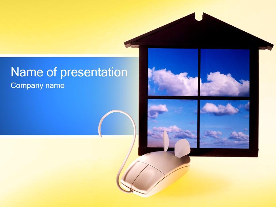 打开一扇窗――简洁设计电脑科技PPT模板