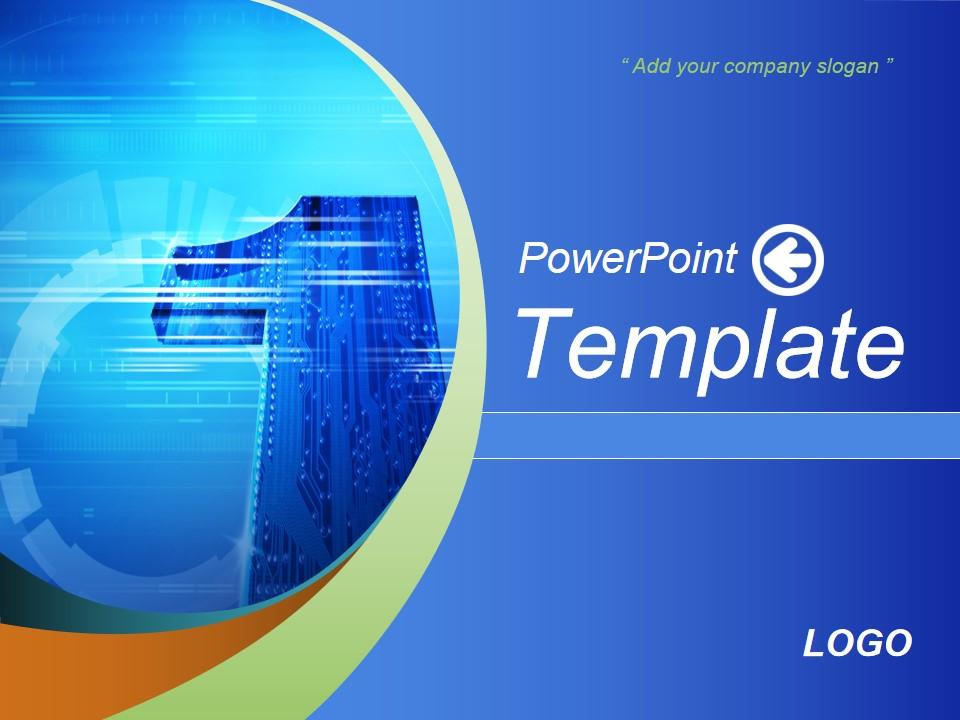 NO.1电子科技公司蓝色PPT模板