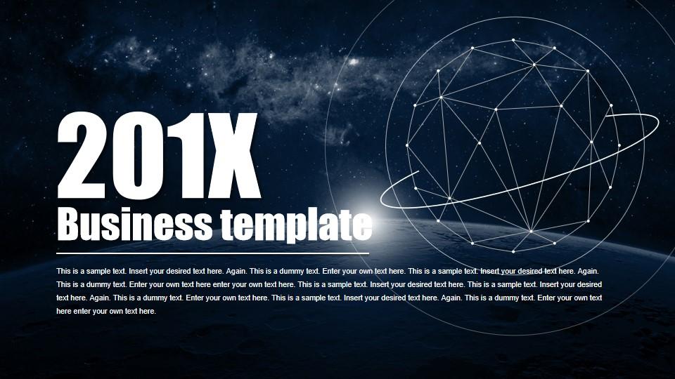 宇宙星球背景点线炫酷科幻半透明iOS风格商务工作汇报PPT模板