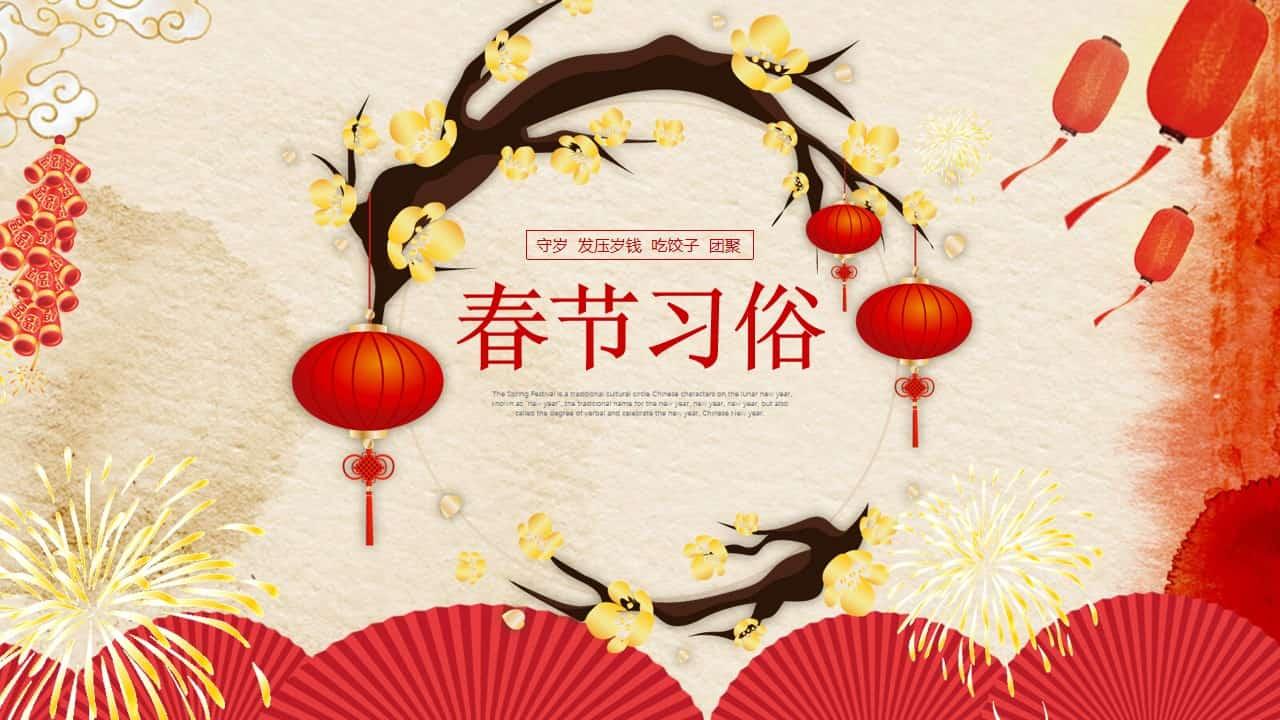 春节传统习俗介绍PPT模板