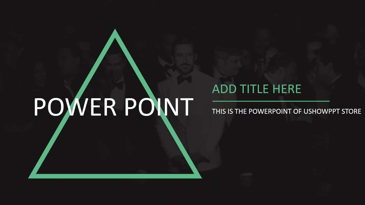 黑绿简约几何图形PPT模板
