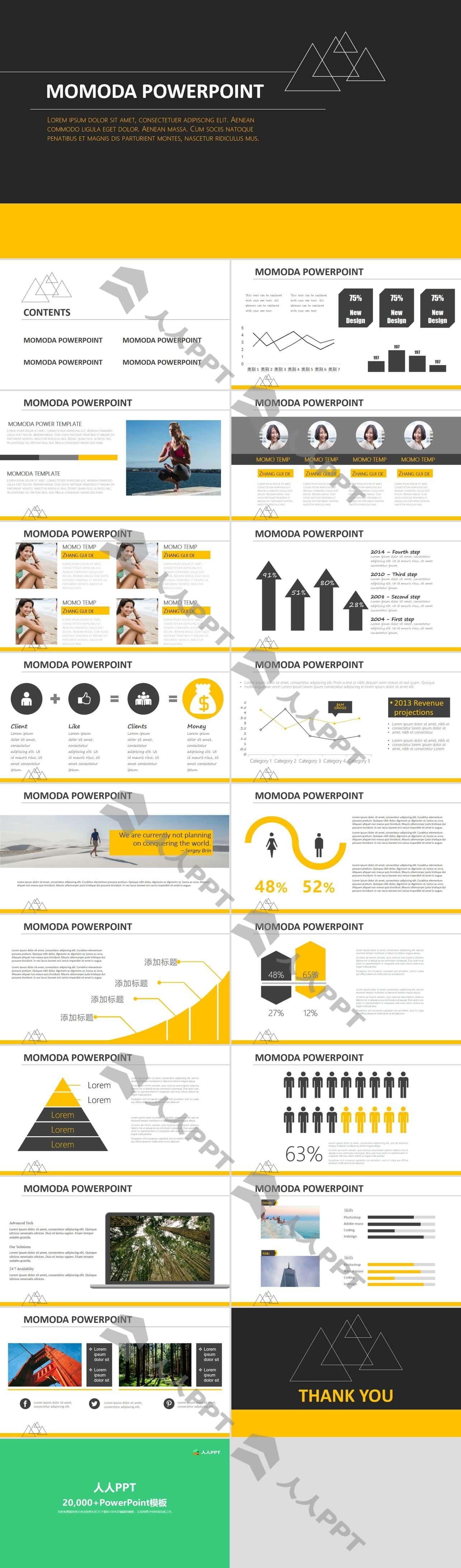 黑黄配色时尚欧美风PPT模板长图