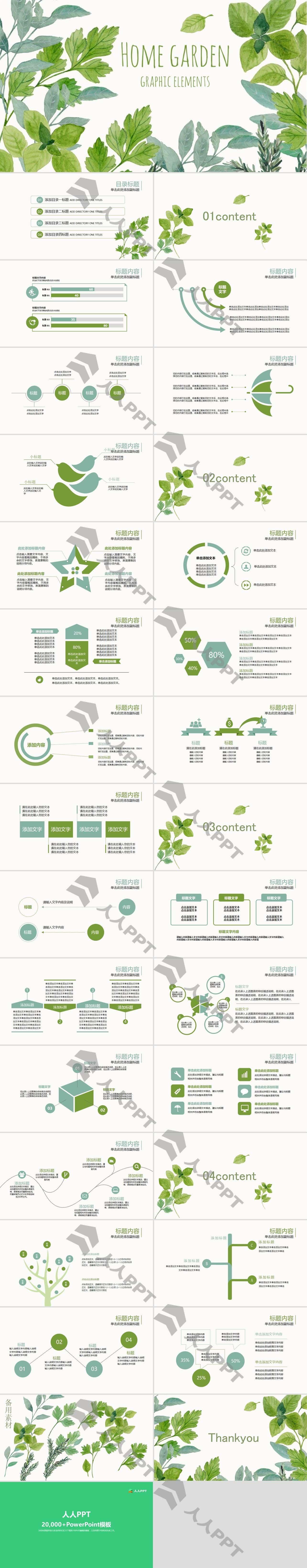 小清新动态水彩绿叶PPT模板长图