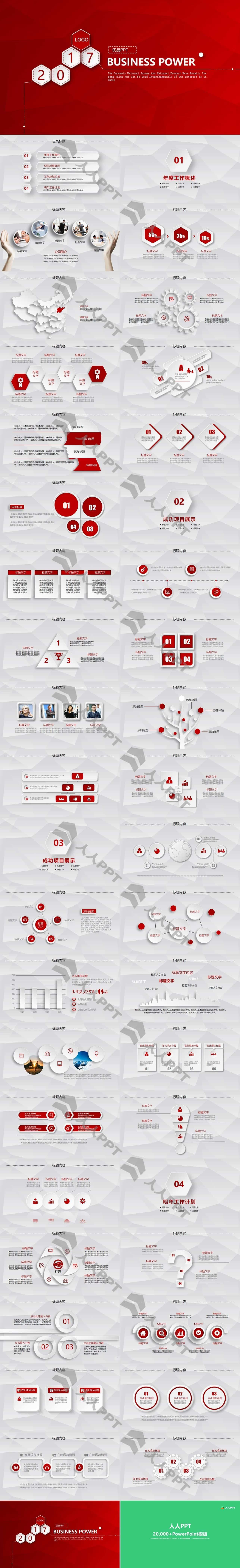 红色工作报告汇报PPT模板长图