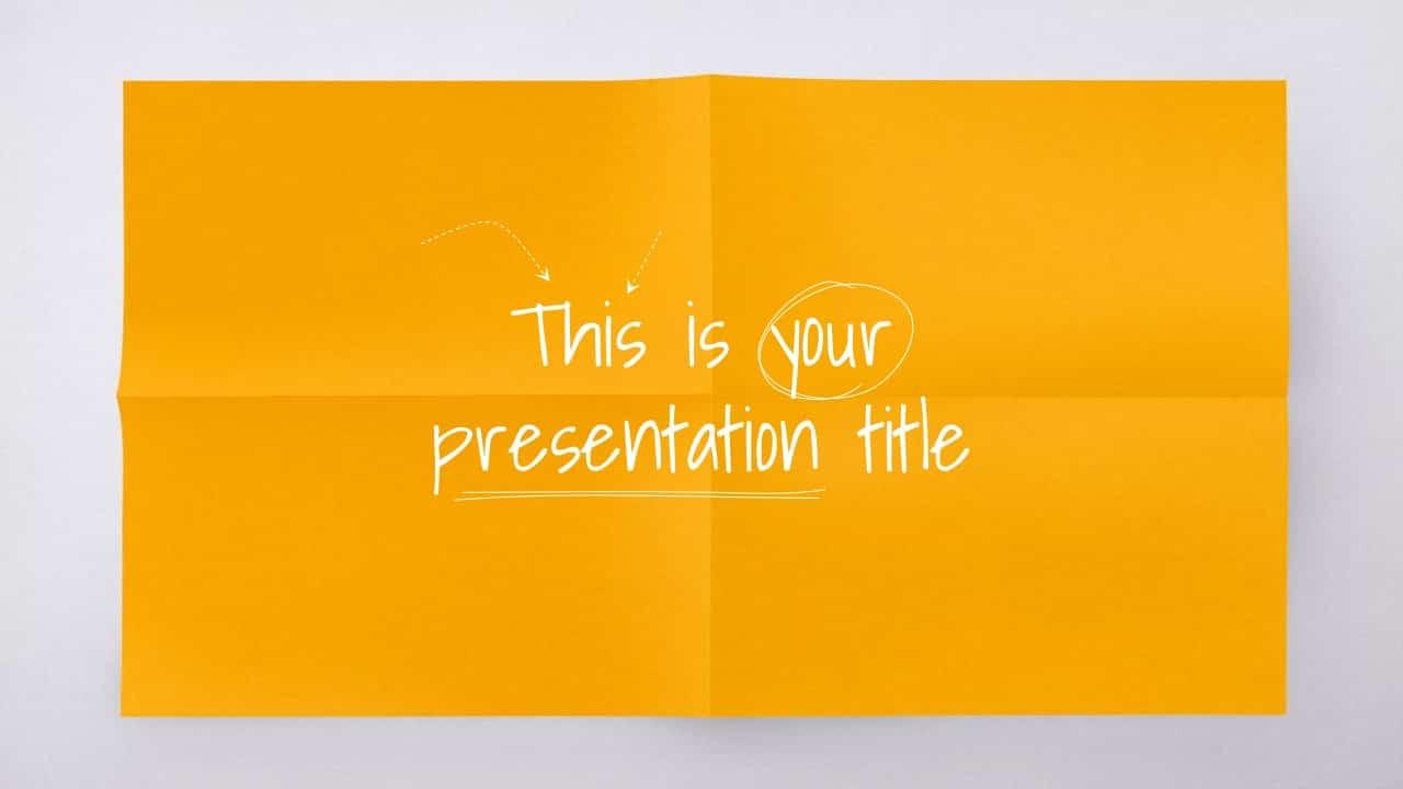 简约创意折痕纸张PPT模板
