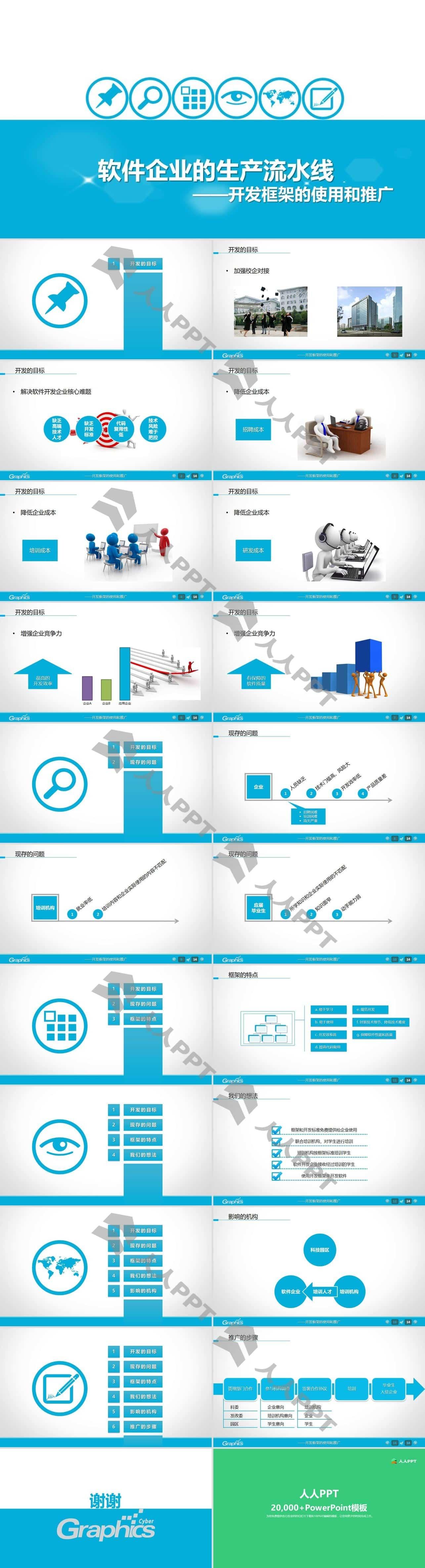 软件工程项目汇报PPT模板长图