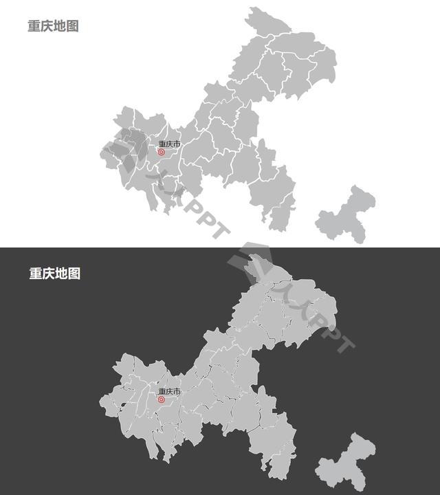 重庆市地图细分到区-可编辑的PPT素材模板长图