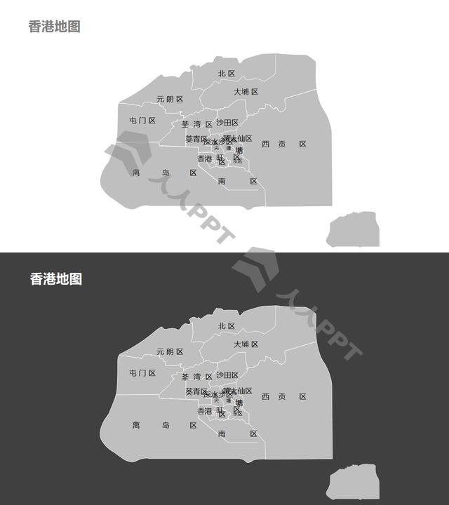 香港地图细分到区-可编辑的PPT素材模板长图