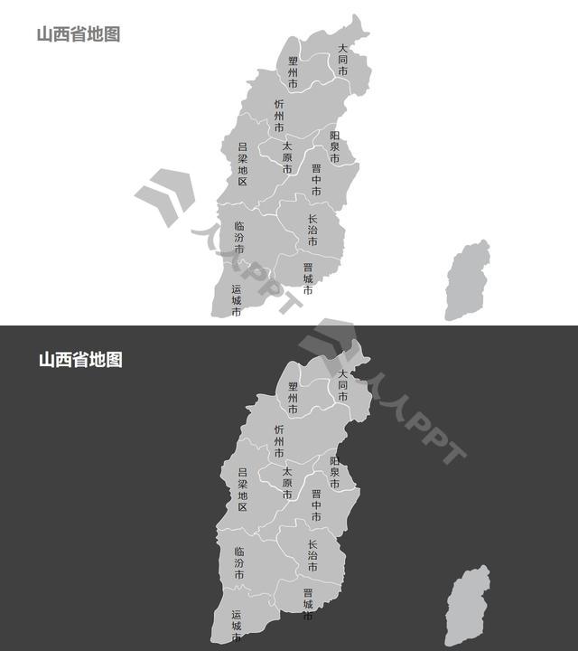 山西地图细分到市-可编辑的PPT素材模板长图
