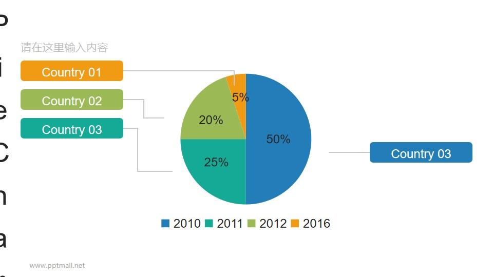 三维饼图四项数据PPT素材