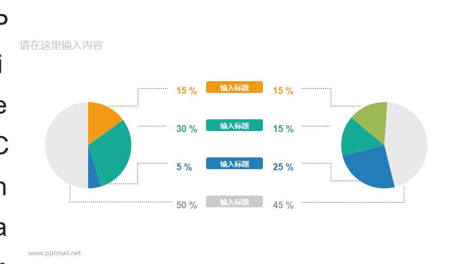 两个左右分布的彩色饼图数据分析对比图表PPT素材