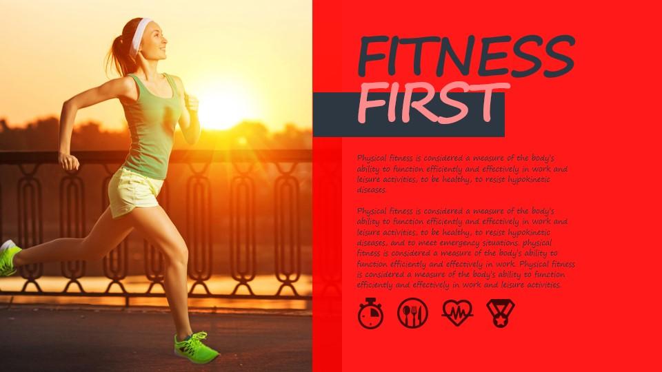 健康生活运动PPT模板板式素材