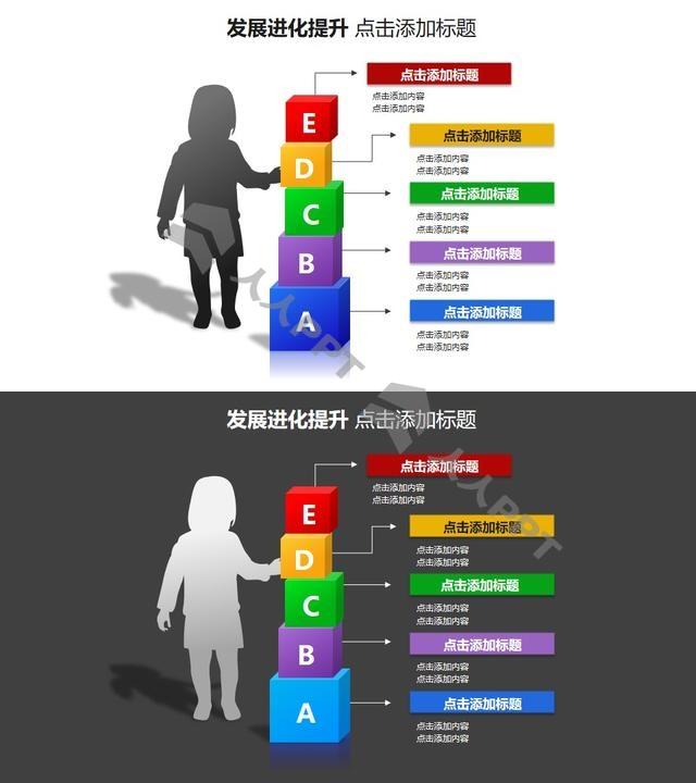 发展进化提升——儿童剪影+有字母的积木样式的PPT模板素材长图