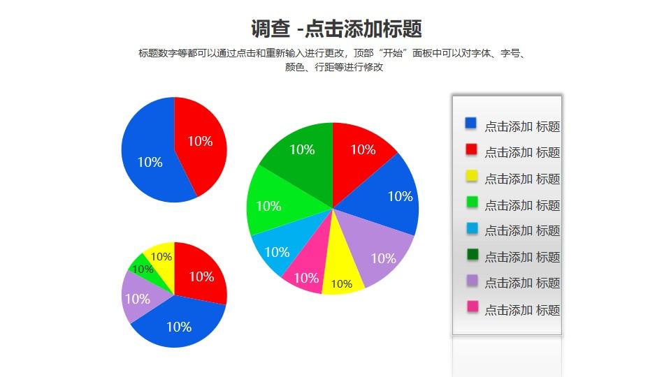 调查——三个表示百分比的饼状图PPT素材模板