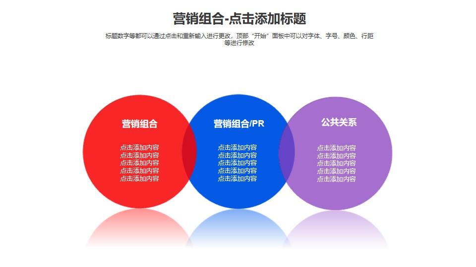 营销组合——三个并列的半透明圆形PPT模板