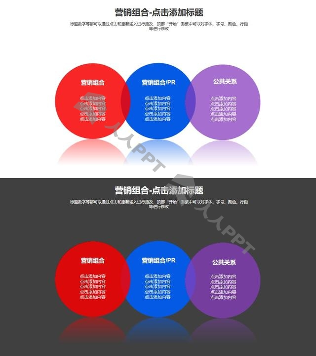 营销组合——三个并列的半透明圆形PPT模板长图