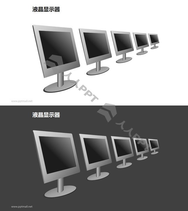 五个并列摆放的液晶显示器PPT模板素材长图