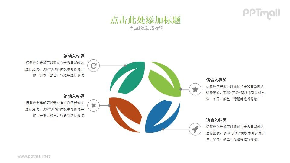 四篇叶子组成的PPT图示素材