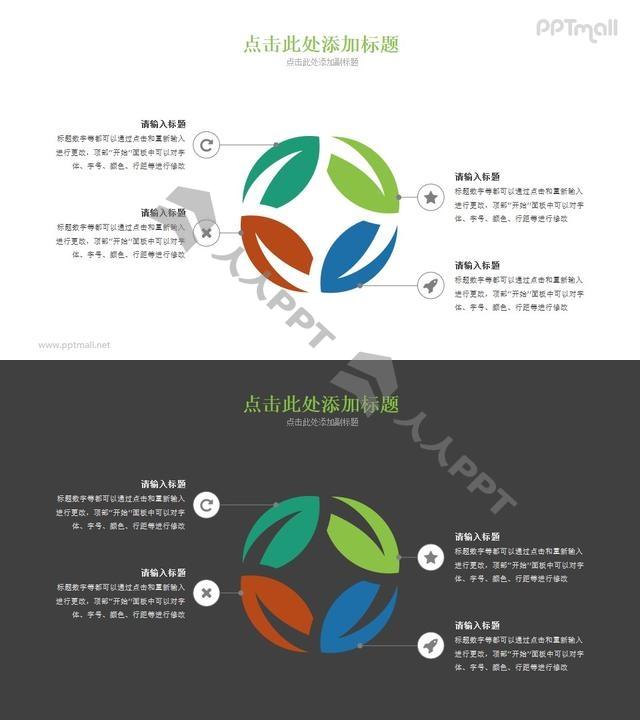 四篇叶子组成的PPT图示素材长图
