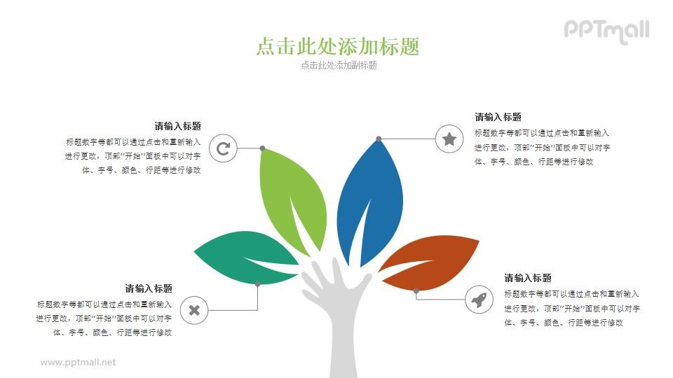 四片叶子组成的树木PPT素材