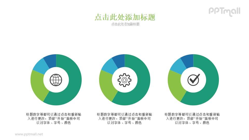3个并排的圆环图/饼图PPT素材