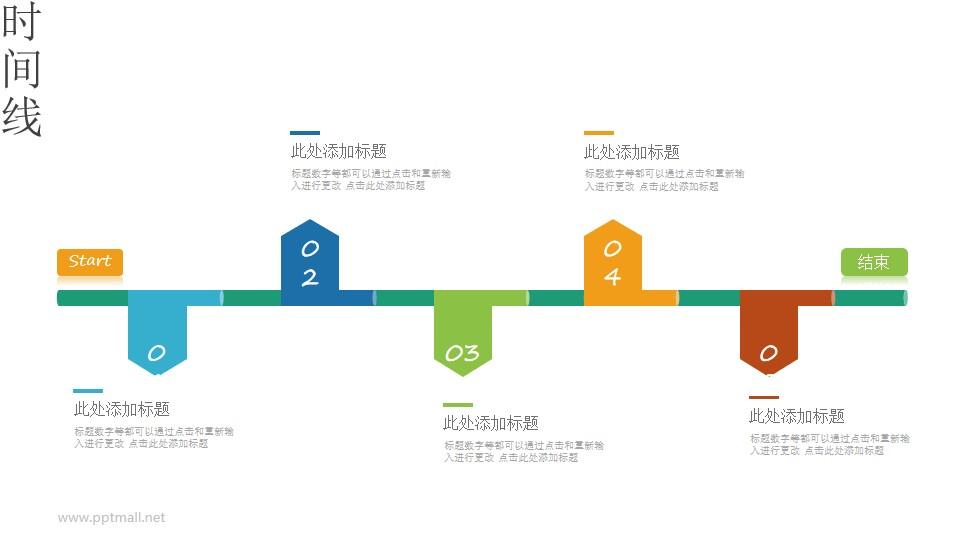 上下排版的时间轴PPT图示素材