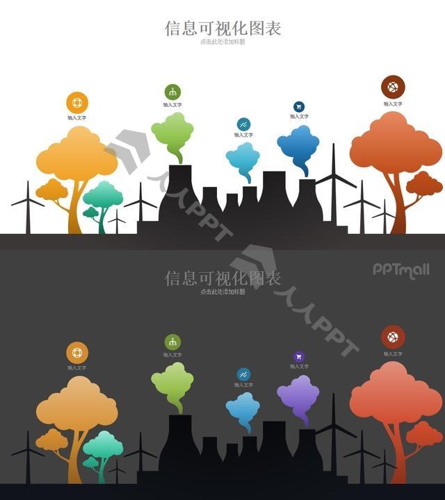 环境污染/工厂排污与治理PPT模板长图
